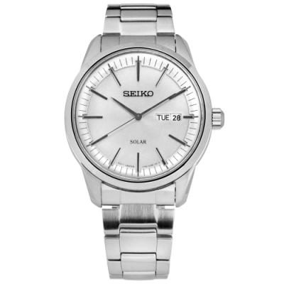 SEIKO 精工 太陽能 藍寶石水晶玻璃 星期日期 防水 不鏽鋼手錶-銀色/40mm