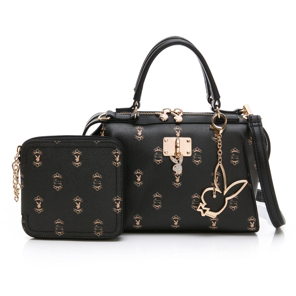 PLAYBOY- 手提包附長背帶  Choco Bunny 巧克兔兔-黑色