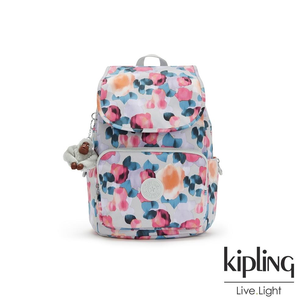 Kipling 繽紛夢幻花繪掀蓋拉鍊後背包-MEDIUM BACKPACK