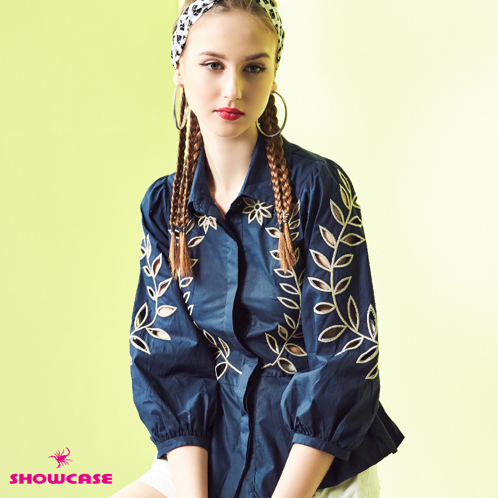 【SHOWCASE】民俗風繡花簍空寬袖襯衫(白/藍) @ Y!購物
