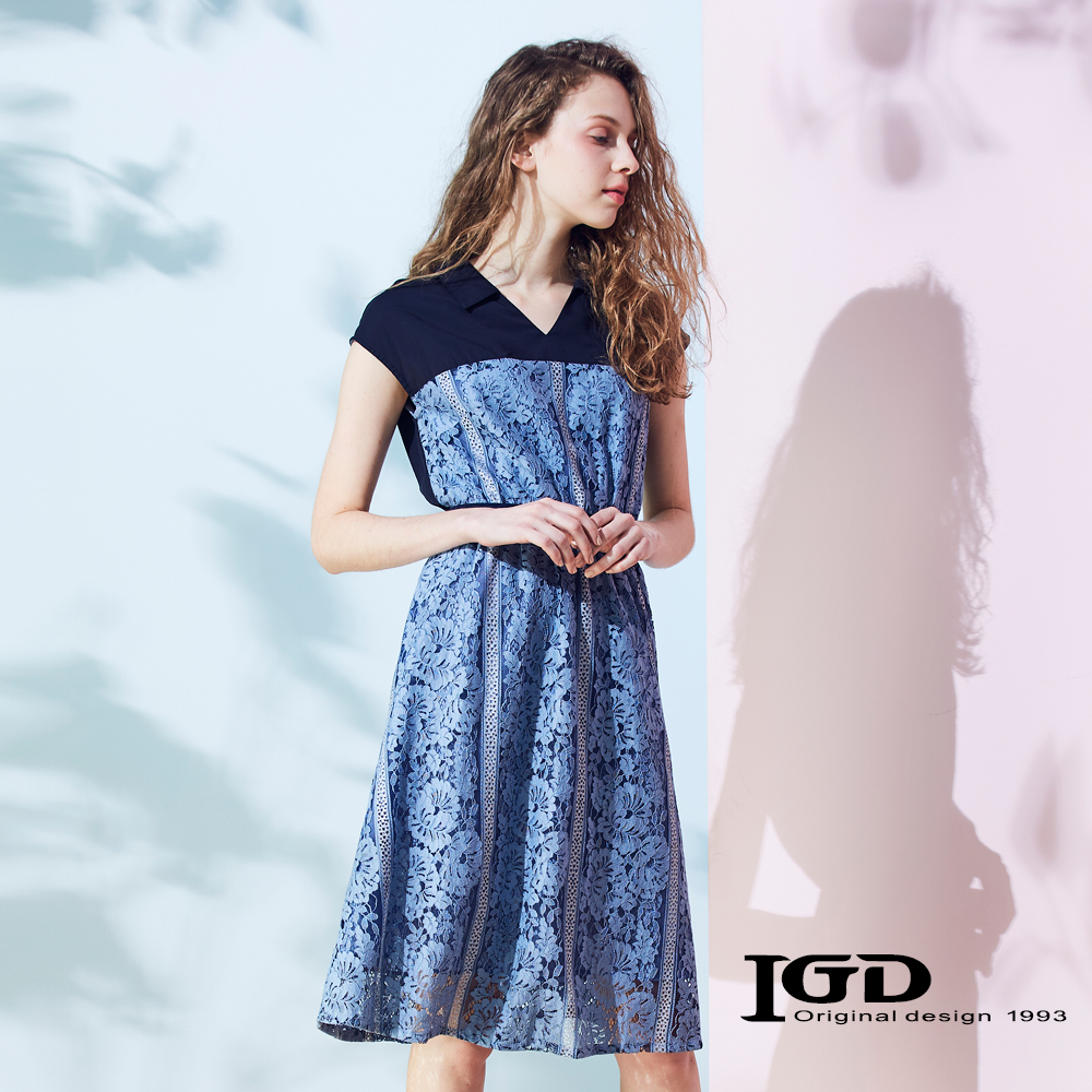 IGD英格麗 蕾絲拼接收腰V領洋裝-水藍