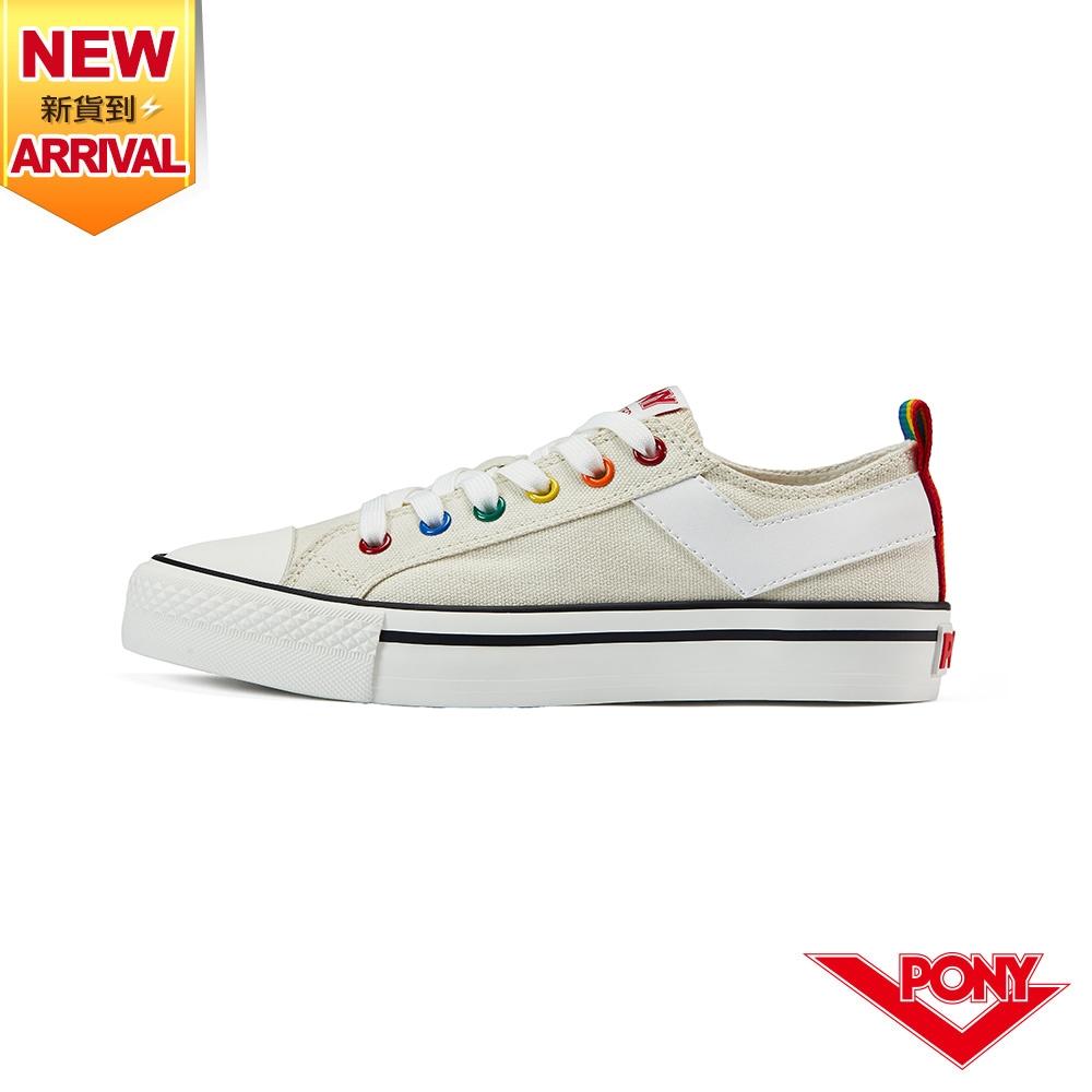 【PONY】Shooter帆布鞋 低筒 彩虹後跟 休閒鞋 男鞋/女鞋-米色