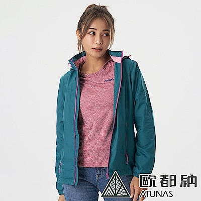 【ATUNAS 歐都納】女款超輕天鵝絨刷毛保暖外套A1GA2013W珐瑯綠/抗風防潑水/抗靜電/風衣