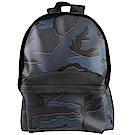 COACH烙印LOGO牛皮拼接迷彩PVC大後背包(藍黑)