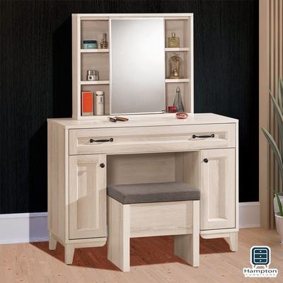 漢妮Hampton 弗吉妮雅3.3尺化妝鏡台桌椅組100.5x40x135cm