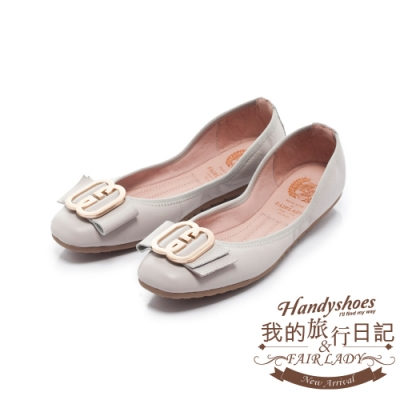 FAIR LADY 我的旅行日記-口袋系列G型飾釦帶皮革方頭平底鞋 石灰