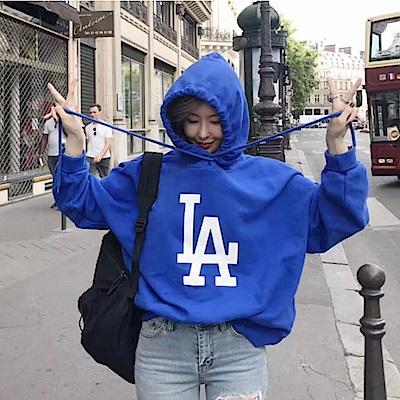 La BellezaLA字母連帽抽繩長版衛衣帽T