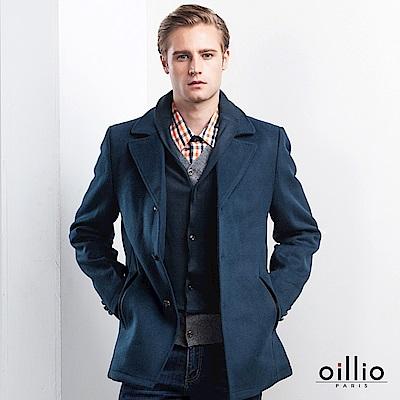 歐洲貴族 oillio 長袖外套 羊毛大衣 時尚紳士穿搭 藍色