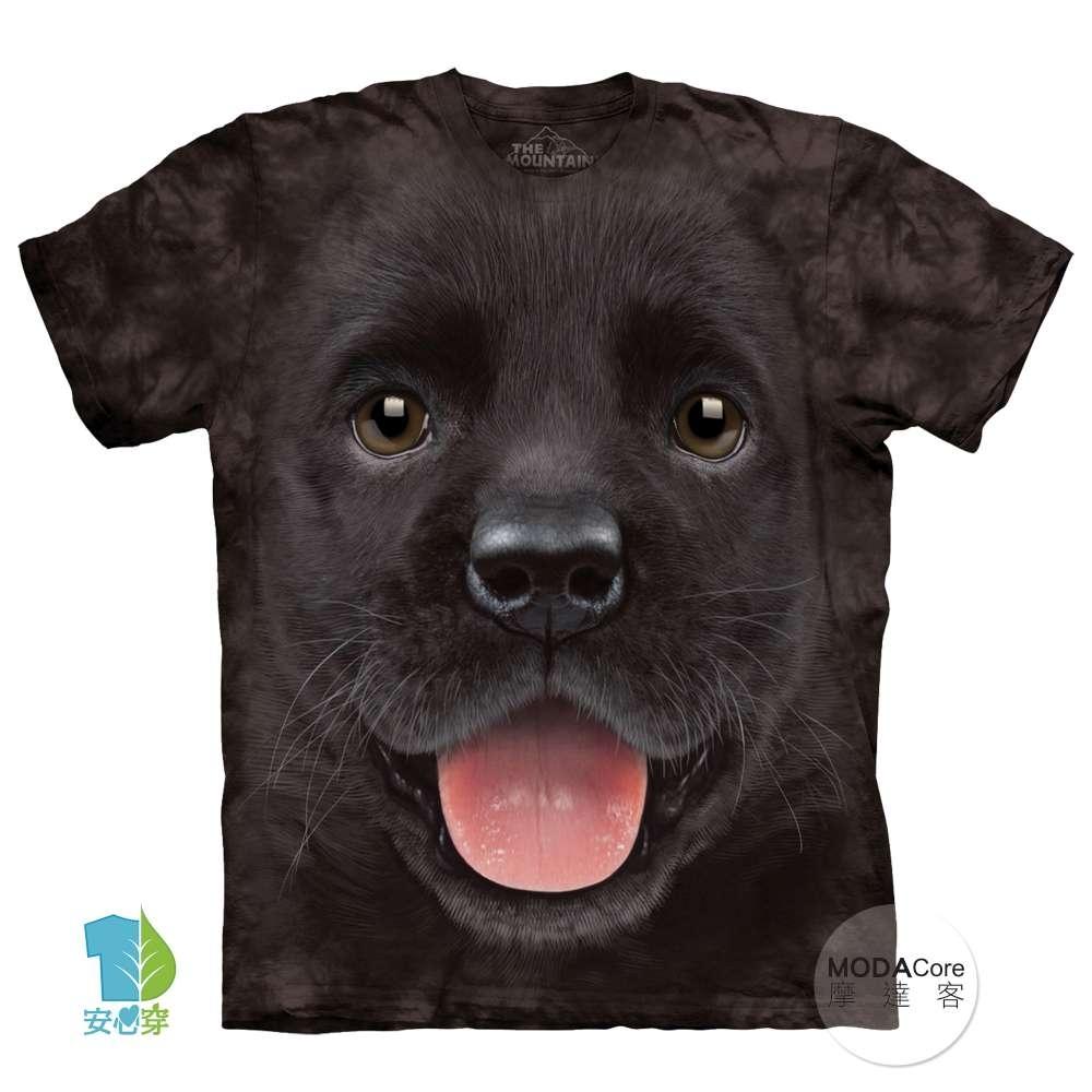 摩達客-美國The Mountain 小黑拉不拉多犬微笑 兒童版純棉環保短袖T恤