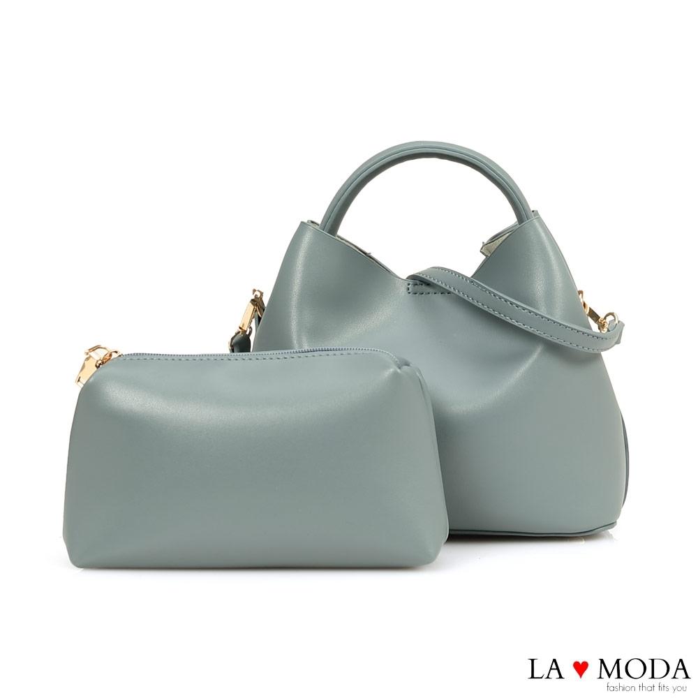 La Moda 實用百搭多背法大容量肩背手提子母包(藍)