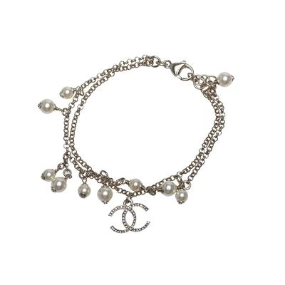 CHANEL 經典雙C LOGO雙層珍珠點綴造型手鍊(金)