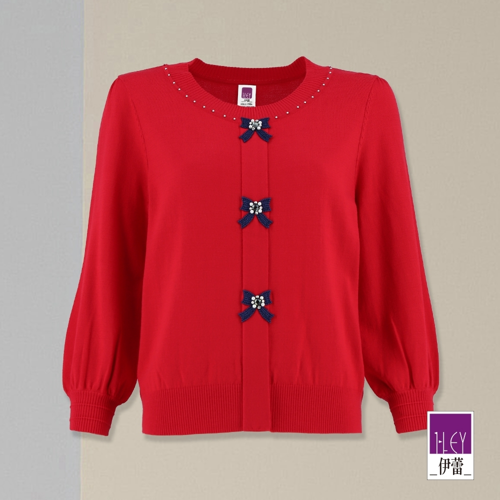 ILEY伊蕾 蝴蝶結貼布繡針織上衣(紅)