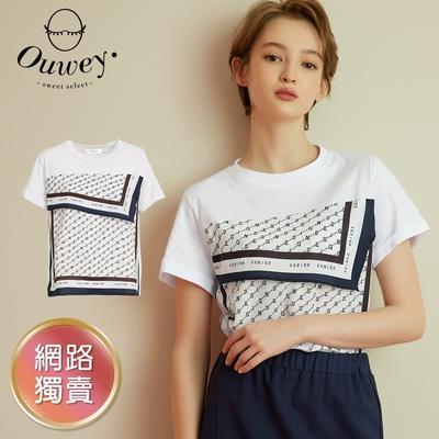 OUWEY歐薇 時尚流行字母撞色絲巾拼接純棉上衣(白)3212461244