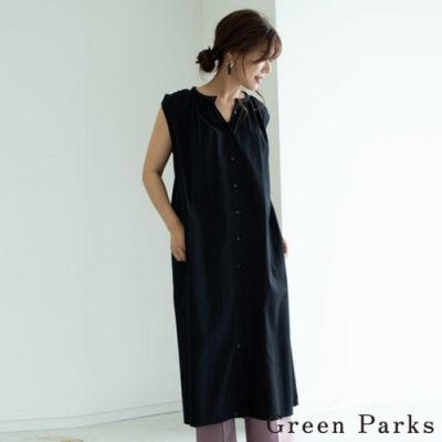 Green Parks 前扣造型無袖連身洋裝