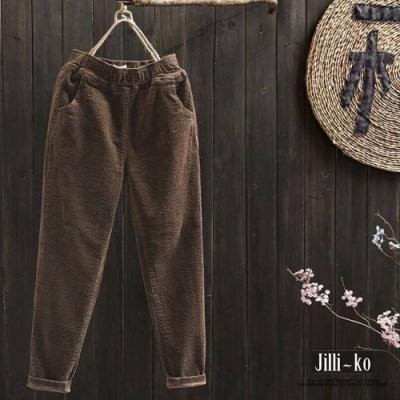 JILLI-KO 復古純色燈芯絨保暖內加絨哈倫褲 - 咖啡/黑
