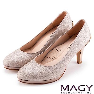 MAGY 夢幻新娘鞋款 特殊造型五金鑽飾高跟鞋-粉色