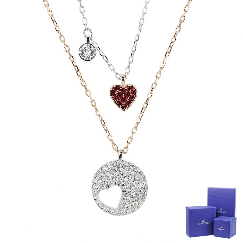 SWAROVSKI 施華洛世奇 紅心x圓形鏤空愛心水晶 多層次玫瑰金銀雙色項鍊