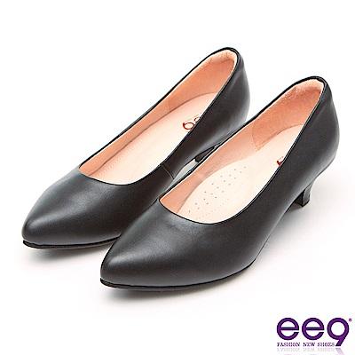ee9 MIT經典手工通勤私藏經典百搭素面粗跟鞋 黑色