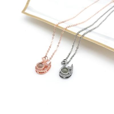 Hera 赫拉 記憶愛心語言投影鎖骨練/項鍊-2色