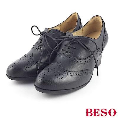 BESO 簡約知性 綁帶真牛皮牛津粗跟踝靴~黑