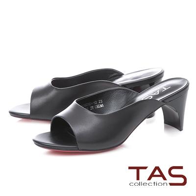 TAS素面造型後跟魚口涼拖鞋-經典黑