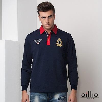 歐洲貴族oillio 長袖POLO衫 襯衫領設計 品味刺繡 丈青色