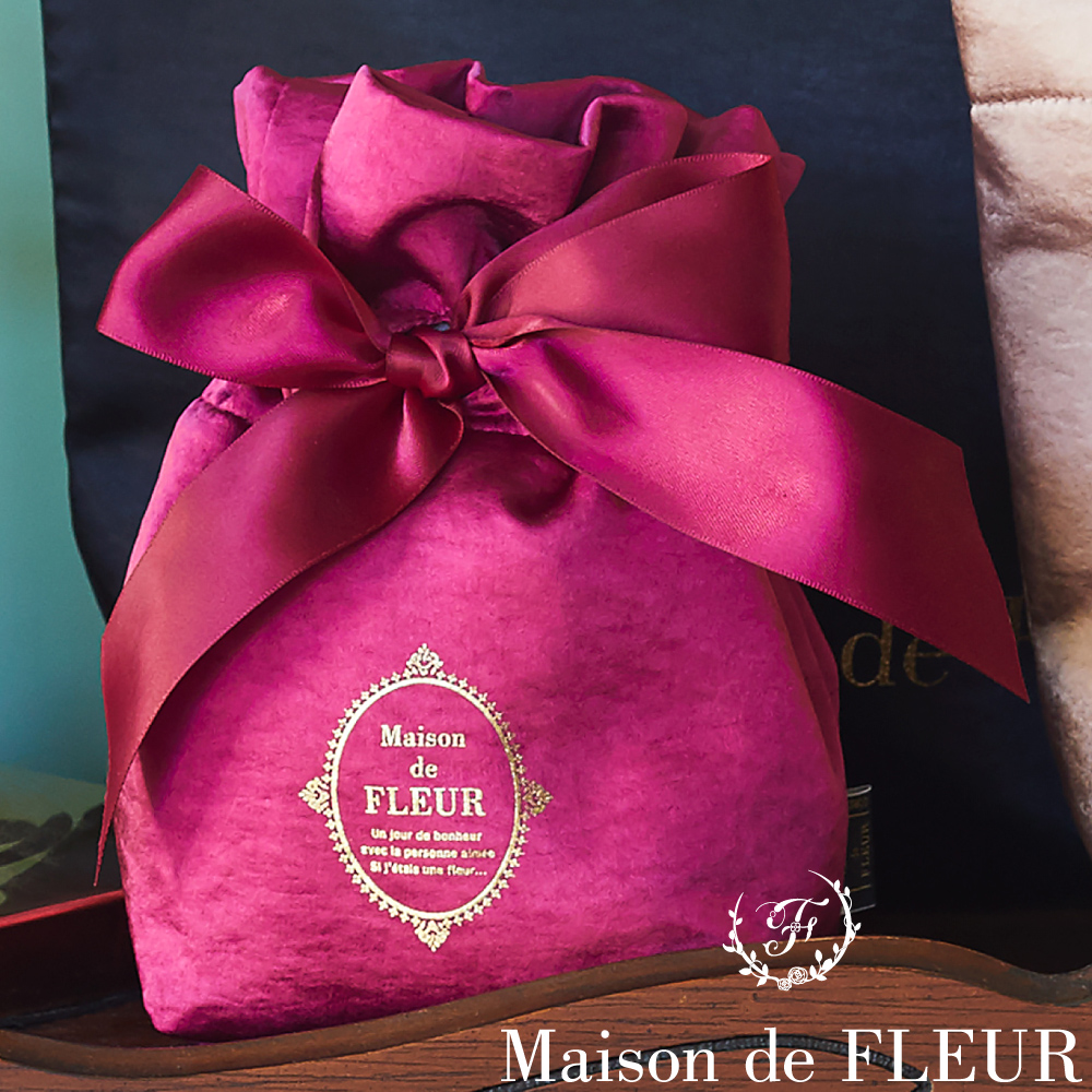 Maison de FLEUR 復古緞面蝴蝶結造型束口袋