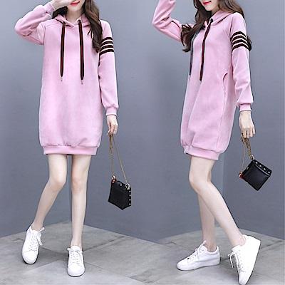 DABI 韓國學院風學生金絲絨連帽套頭條紋袖長袖上衣 @ Y!購物