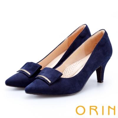 ORIN 優雅大女人 細金屬條飾絨布質感高跟鞋-藍色