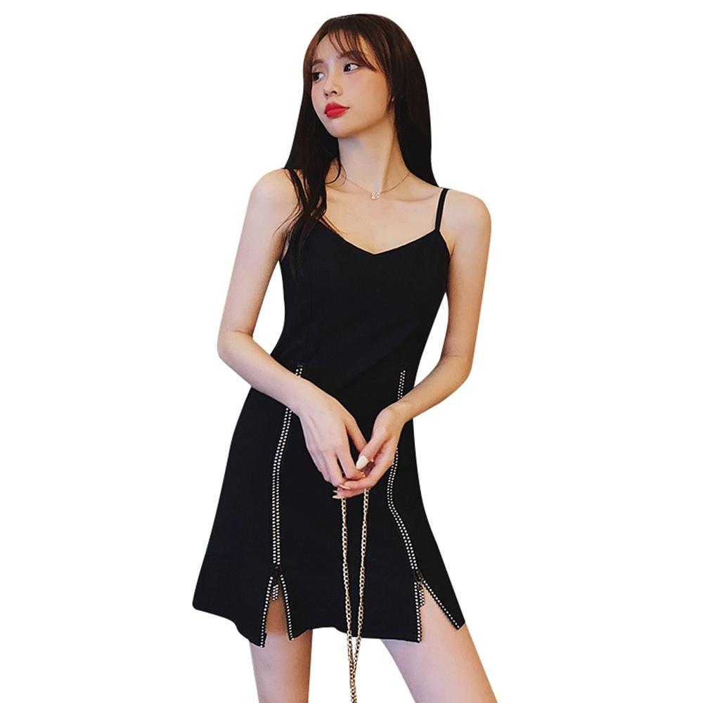 溫柔小性感裙襬拉鍊拼接吊帶洋裝L-4XL-Sexy Devil
