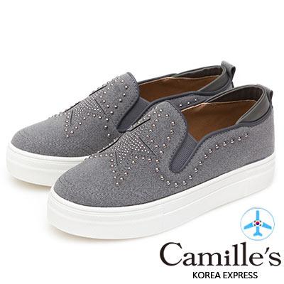 Camille's 韓國空運-正韓製-鉚釘五角星麂皮絨厚底懶人鞋-灰藍