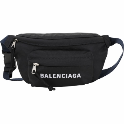 BALENCIAGA WHEEL 小型刺繡字母尼龍胸肩背/腰包(黑色)