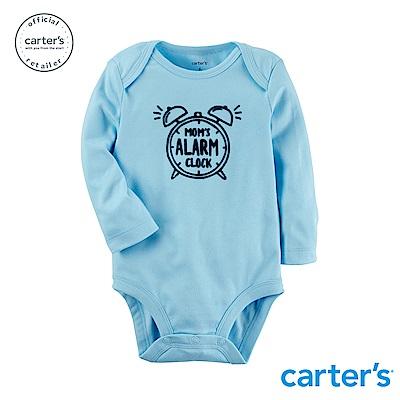 Carter s台灣總代理 趣味圖文粉藍長袖包屁衣