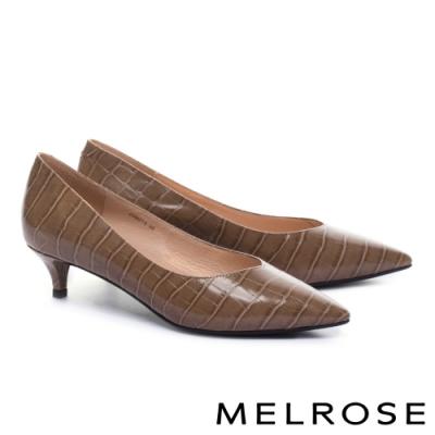 低跟鞋 MELROSE 經典質感鱷魚紋尖頭低跟鞋-棕