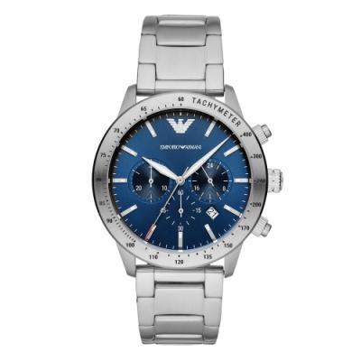 EMPORIO ARMANI 紳士時尚三眼腕錶-銀X藍(AR11306)42mm