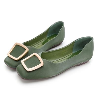 PLAYBOY 優雅浪漫 顯瘦方頭平底鞋-綠-Y7309DD