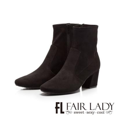 Fair Lady縫線拼接麂皮拉鍊高跟短靴 黑