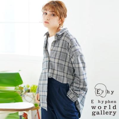 E hyphen 前短後長寬版法蘭絨格紋襯衫上衣