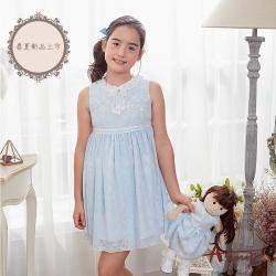 Annys安妮公主-夏天的藍天白雲-蕾絲圖騰暗紋蝴蝶結背心洋裝*8127水藍