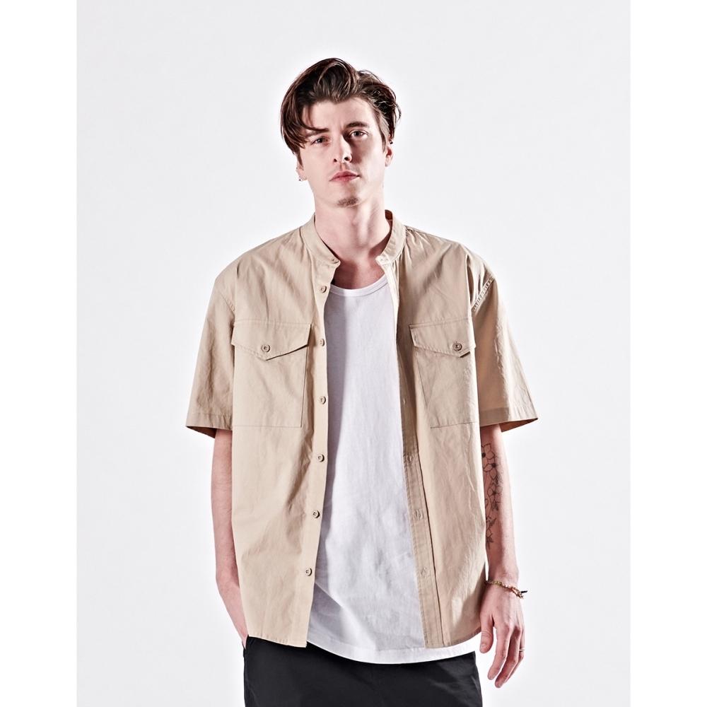 NAVY-立領短袖襯衫(二色)-男【B1NA061】