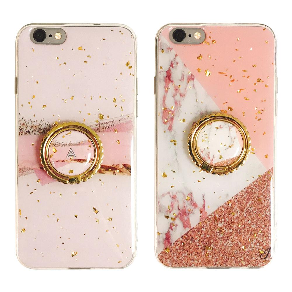 【TOYSELECT】iPhone 6/6s Plus 粉嫩金箔大理石指環支架手機殼