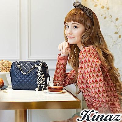 KINAZ 香甜縈繞兩用鏈帶斜背包-莫爾納煙囪捲系列-快