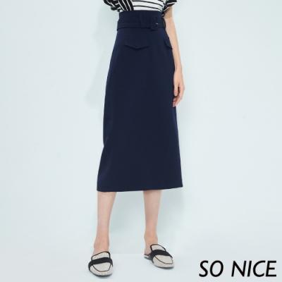 SO NICE簡約時尚腰帶過膝窄裙