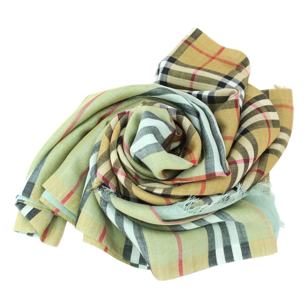 BURBERRY Vintage 雙面格紋輕盈羊毛絲綢圍巾(粉綠)