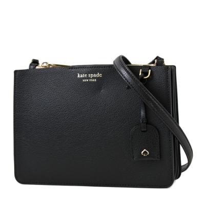 KATE SPADE 專櫃款 EVA 荔枝紋三層置物斜背包-黑色