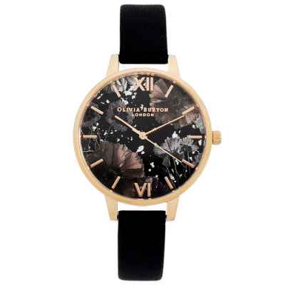 Olivia Burton 英倫復古手錶 星空花園 黑色皮革錶帶玫瑰金錶框34mm