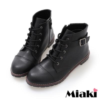 Miaki-短靴首爾直擊平底綁帶牛津靴踝靴-黑