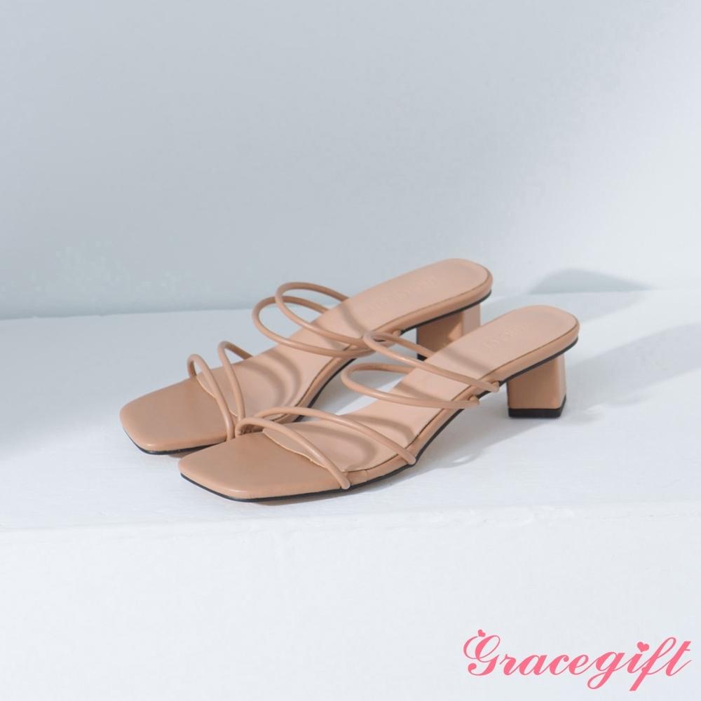 Grace gift-方頭細帶中跟涼拖鞋 杏
