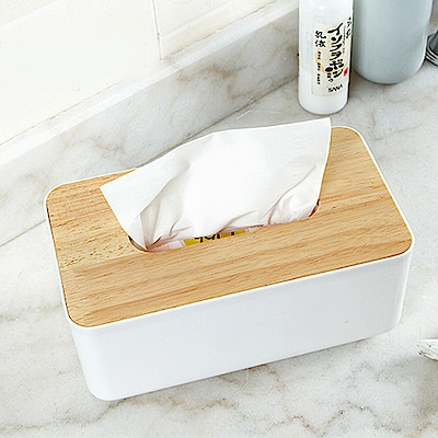 E.City_北歐風平口木蓋質感紙巾盒