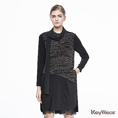 KeyWear奇威名品    立體雙色針織剪接蕾絲長袖洋裝-黑色